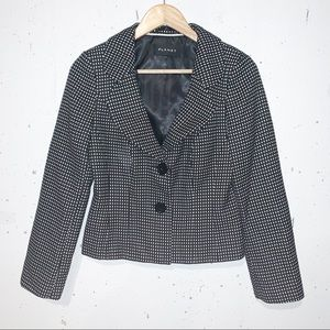 Planet Checkered Fitted Blazer Lined Black and White Double Button Size 6
